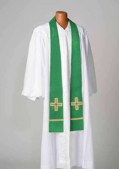 Kingdom Cross Lurex Stole - Green