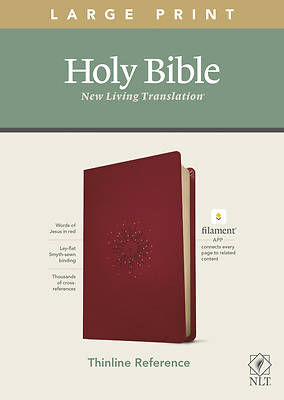 Picture of NLT Large Print Thinline Reference Bible, Filament Enabled Edition (Red Letter, Leatherlike, Berry)