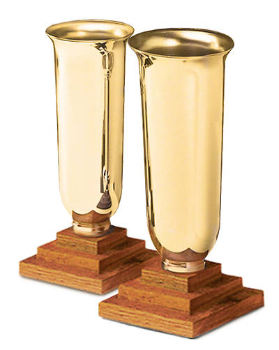 PAIR CHAPEL LINE BRASS VASES WITH OAK BASE