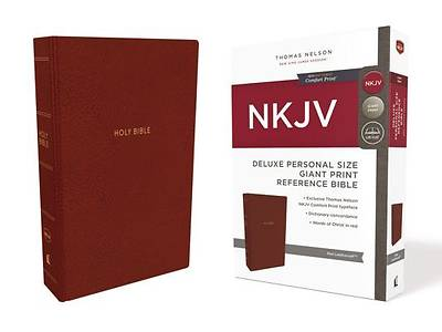 NKJV, Deluxe Reference Bible, Personal Size Giant Print, Imitation Leather, Red, Red Letter Edition, Comfort Print