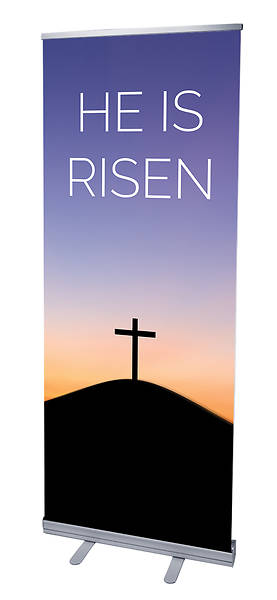 He Is Risen Sunrise Easter RollUp Banner with Stand