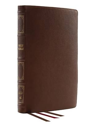 Picture of Nkjv, Reference Bible, Classic Verse-By-Verse, Center-Column, Genuine Leather, Brown, Red Letter, Comfort Print