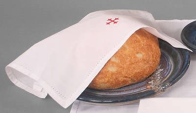 Cambric Linen Bread Plate Napkin with Red Cross