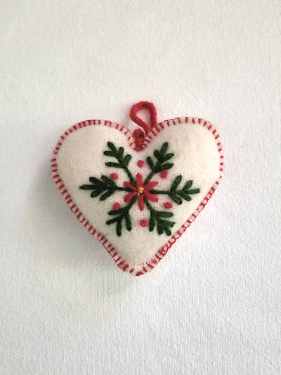 Picture of Embroidered Wool Heart Ornament White