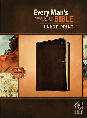Picture of Every Man's Bible Nlt, Large Print, Deluxe Explorer Edition (Leatherlike, Rustic Brown)