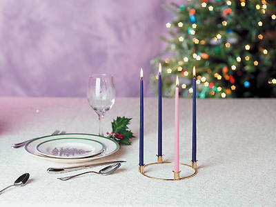 Miniature Advent Wreath with Candles