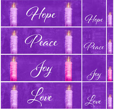 Picture of Four Sided Advent Candles 3-Piece Parament Set - Purple