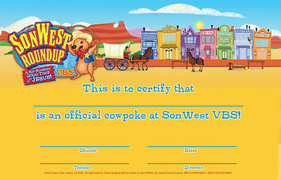 Gospel Light Vacation Bible School 2013 SonWest RoundUp Student Certificates (pkg 50)