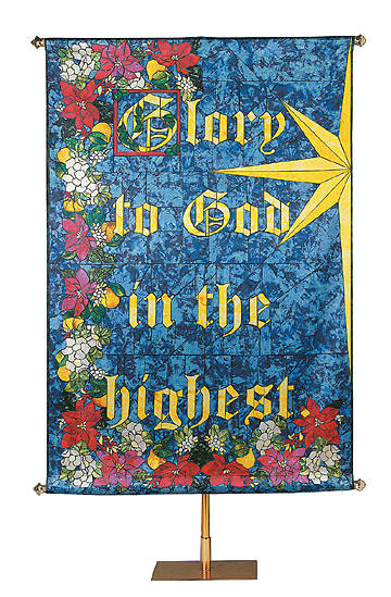 Banner Christmas Glory to God Stained Glass 4 X 6