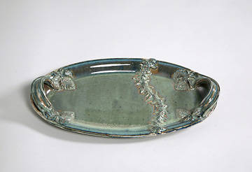 Crown of Thorns Green Porcelain Loaf Server with Handles