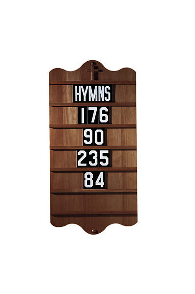 Wall Mount Hymn Board - Walnut Stain