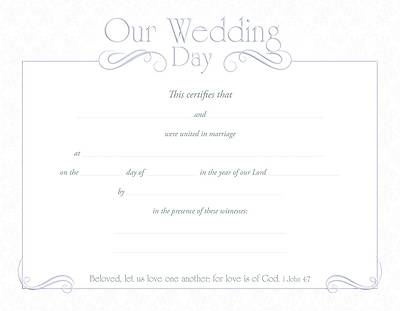 Marriage Certificate - Our Wedding Day - 8 1/2 x 11 Package of 6