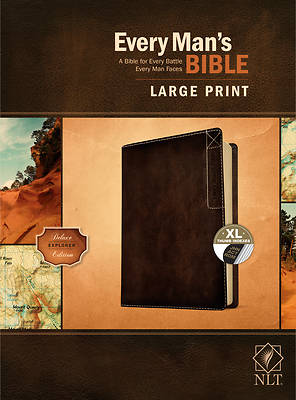 Picture of Every Man's Bible Nlt, Large Print, Deluxe Explorer Edition (Leatherlike, Rustic Brown, Indexed)