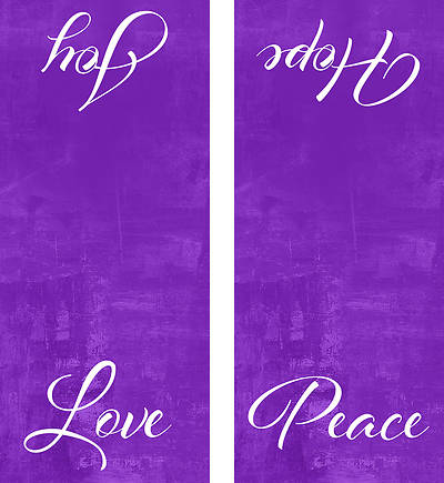 Picture of Four Sided Advent Candles Pulpit Scarf - Purple