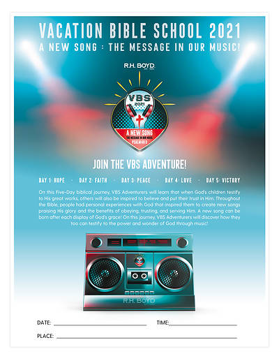 Picture of Vacation Bible School VBS 2021 A New Song The Message in Our Music Flyer