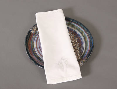 Cambric Linen Bread Plate Napkin with Wheat/Grapes