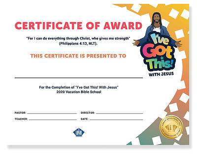 Picture of Vacation Bible School VBS 2021 Certificate of Award for youth (25 pk)