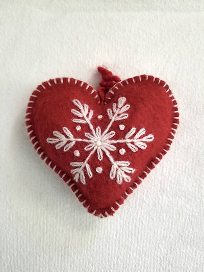 Picture of Embroidered Wool Heart Ornament Red