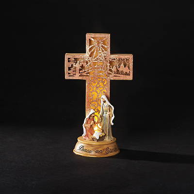 "Picture of Holy Family Laser Cut Cross Figure 11"" LED"