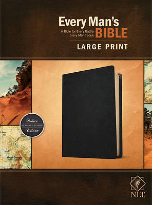 Picture of Every Man's Bible Nlt, Large Print (Genuine Leather, Black)