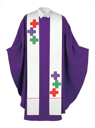 Picture of Multi-Color Greek Crosses White Stole