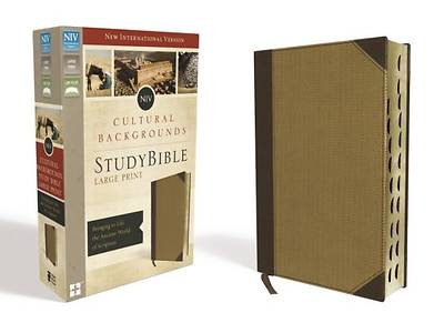 NIV, Cultural Backgrounds Study Bible, Large Print, Imitation Leather, Tan, Indexed, Red Letter Edition