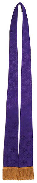 Stole Purple Plain Brocade Tapered Collegiate