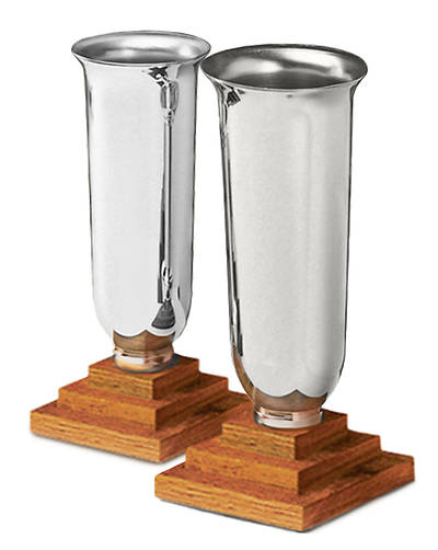 PAIR CHAPEL LINE SILVERPLATE VASES WITH OAK BASE