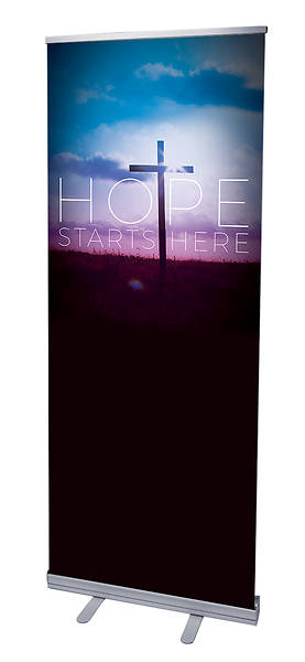 Hope Starts Here Easter RollUp Banner with Stand