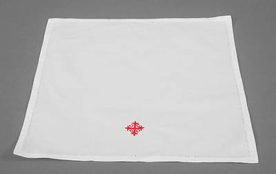 Cambric Linen Bread Plate Napkin with Red Cross and Vine