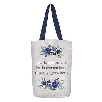 Picture of Love Joy Grace Blue Floral Canvas Tote Bag