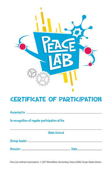 Vacation Bible School (VBS) 2018 Peace Lab: Participation Certificates