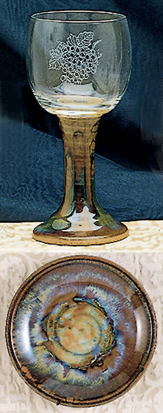 Picture of Earthenware and Etched Glass Chalice and Paten Set