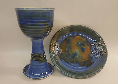 Earthenware Chalice and Paten Set, Dark Blue