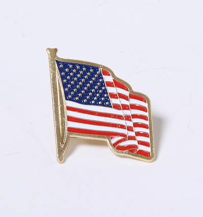 Picture of Gold American Flag Lapel Pin With Card