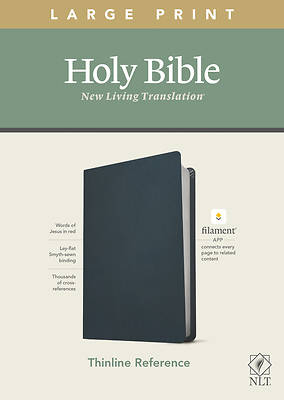 Picture of NLT Large Print Thinline Reference Bible, Filament Enabled Edition (Red Letter, Genuine Leather, Blue)