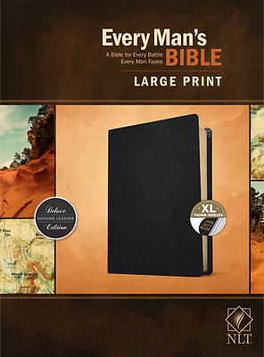 Picture of Every Man's Bible Nlt, Large Print (Genuine Leather, Black, Indexed)