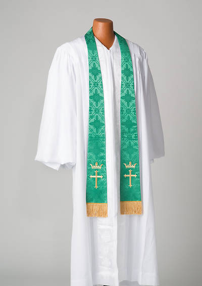 Picture of Brocade Cross Crown Embroidery Green Stole