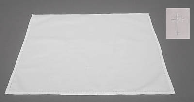 Cambric Linen Bread Plate Napkin with Latin Cross