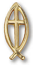 Fishermans Cross Gold Lapel Pin