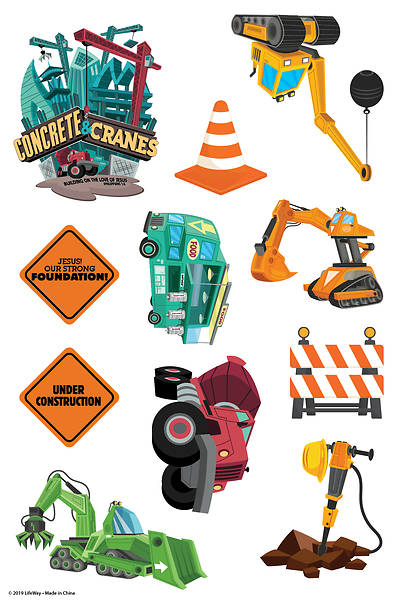 Picture of Vacation Bible School (VBS) 2020 Concrete and Cranes Theme Stickers 10 Sheets