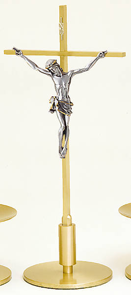 "15"" Brass Altar Crucifix"