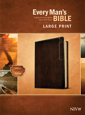 Picture of Every Man's Bible Niv, Large Print, Deluxe Explorer Edition (Leatherlike, Rustic Brown)