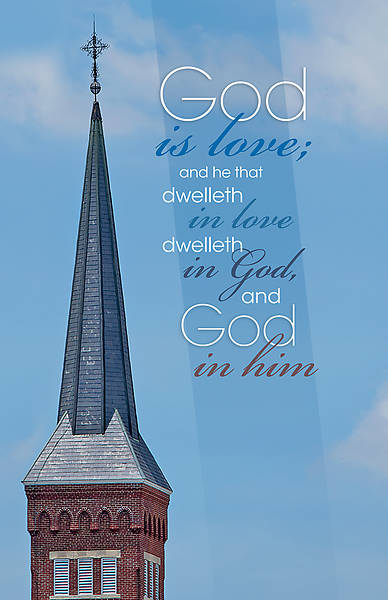 God is Love Chuch Steeple Bulletin - Pack of 100