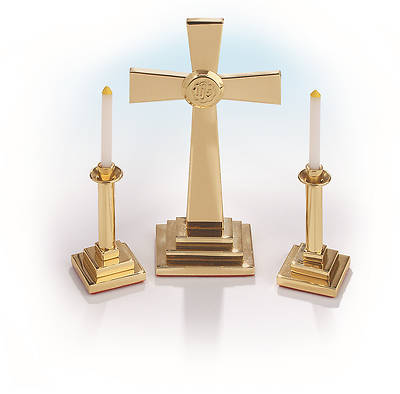 Miniature Solid Brass Altar Set