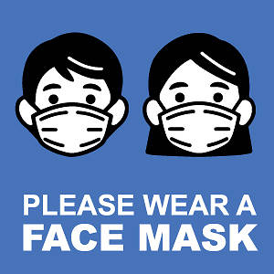 "Picture of Please Wear Face Mask 9""x9"" Wall Decal Sign - 2 Pack"