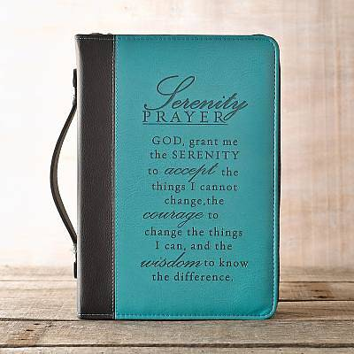 Bible Cover Serenity Luxleather Black Aqua Medium