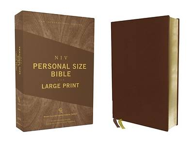 Picture of Niv, Personal Size Bible, Large Print, Genuine Leather, Buffalo, Brown, Red Letter Edition, Comfort Print