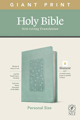 Picture of NLT Personal Size Giant Print Bible, Filament Enabled Edition (Red Letter, Leatherlike, Floral Frame Teal)