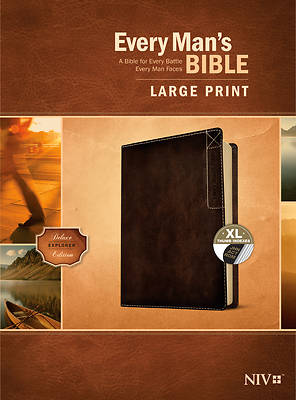 Picture of Every Man's Bible Niv, Large Print, Deluxe Explorer Edition (Leatherlike, Rustic Brown, Indexed)